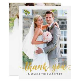 PHOTO THANK YOU hand lettered script gold foil Card