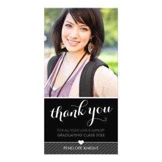 PHOTO THANK YOU script type graduate black white Customized Photo Card