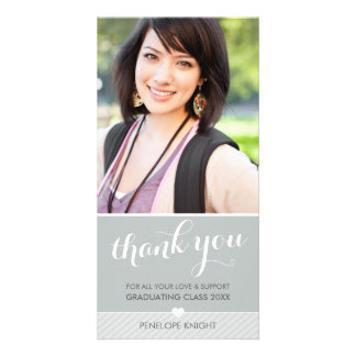 PHOTO THANK YOU script type graduate cute gray Picture Card