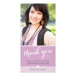 PHOTO THANK YOU script type graduate cute purple Personalized Photo Card