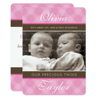 PHOTO TWINS BIRTH ANNOUNCEMENT cute baby girls