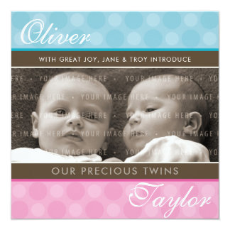 PHOTO TWINS BIRTH ANNOUNCEMENT cute boy + girl