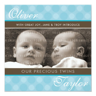 PHOTO TWINS BIRTH ANNOUNCEMENT cute boys blue