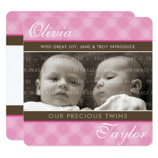 PHOTO TWINS BIRTH ANNOUNCEMENT cute girls pink