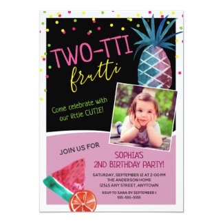 Photo Two-tti Frutti Watercolor 2nd Birthday Party Card