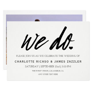 Photo We Do Wedding Typography Personalized Card