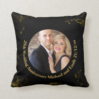 PHOTO Wedding Anniversary Black Gold Marble Pillow