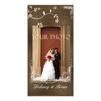 Photo Wedding Card - Brown accents Customized Photo Card