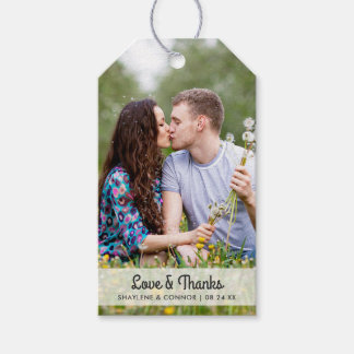 Photo Wedding Favour Tags | Striped Back Pack Of Gift Tags