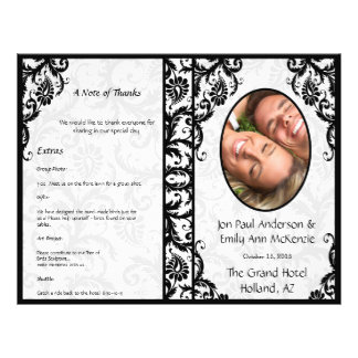 Photo Wedding Program Black Damask