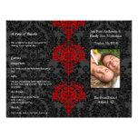 Photo Wedding Program Black Grey & Red Damask Flyer Design