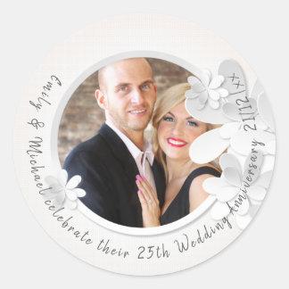 PHOTO Wedding Stickers - White Flower Modern