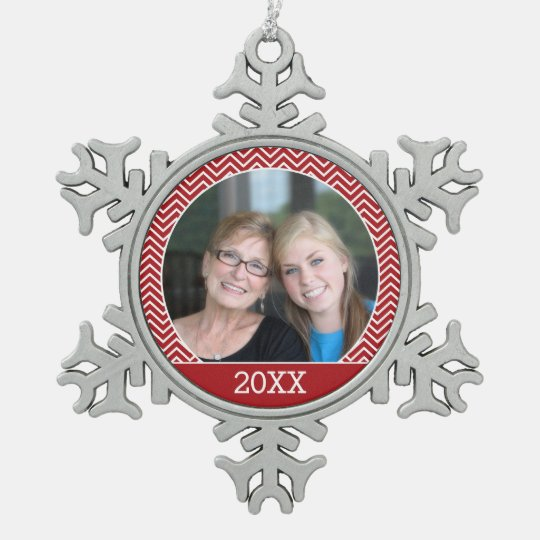 Photo with a Trendy Border and Custom Year Pewter Snowflake Ornament