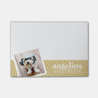 Photo with Gold Chevron Pattern and Custom Name Post-it Notes
