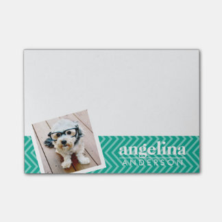 Photo with Modern Chevron Pattern and Custom Name Post-it® Notes
