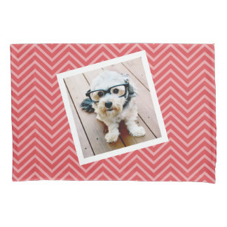 Photo with Red Chevron Pattern - Name on Back Pillowcase