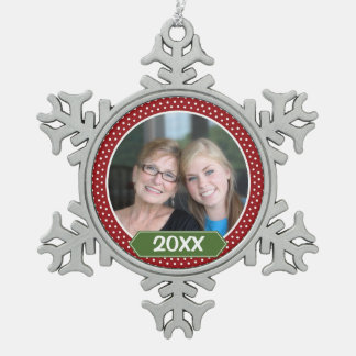 Photo with Red Polka Dot Pattern with Green Year Snowflake Pewter Christmas Ornament