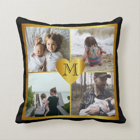 Photo x4 monogram heart throw pillow