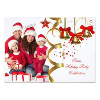 "Photo Xmas Holiday Christmas Party Gold Red Black 4.5"" X 6.25"" Invitation Card"
