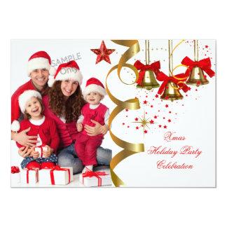 "Photo Xmas Holiday Christmas Party Gold Red Black 4.5"" X 6.25"" Invitation Card"