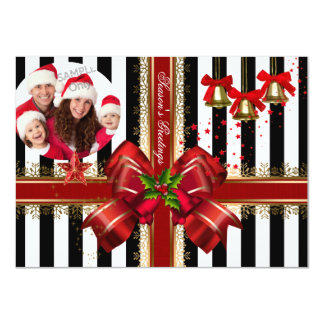 "Photo Xmas Holiday Christmas Party Red Stripe 4.5"" X 6.25"" Invitation Card"