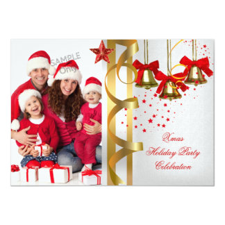 """Photo Xmas Holiday Christmas Party White Gold Red 4.5"""" X 6.25"""" Invitation Card"""