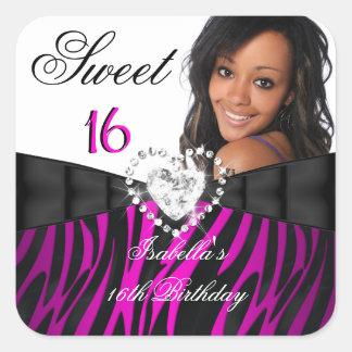 Photo Zebra Pink Silver Sweet 16 Sixteen Birthday Sticker