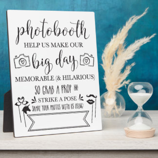 Photobooth Hashtag Wedding Party Sign Plaque 8x10