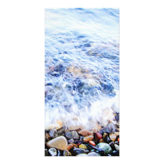 Photocard blue water and a little wave custom photo card