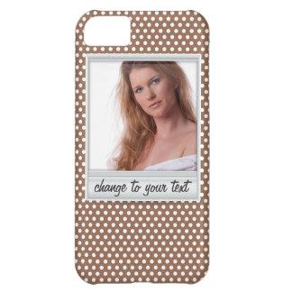 Photoframe polaroïd sur le polkadot blanc et brun coques pour iPhone 5C