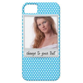 photoframe sur le polkadot blanc et bleu coque Case-Mate iPhone 5