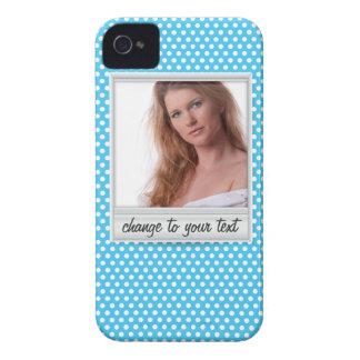 photoframe sur le polkadot blanc et bleu étuis iPhone 4