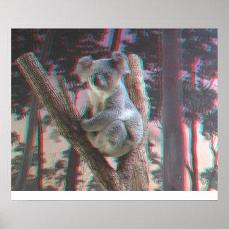 Photogenic Koala Poses For the Camera in 3D Poster