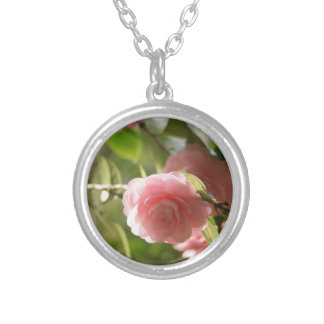 Photograph attachment of flower of faint pink silver plated necklace