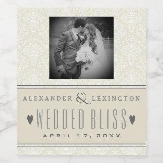 Photograph Classic Elegant Damask Wedding Wine Label
