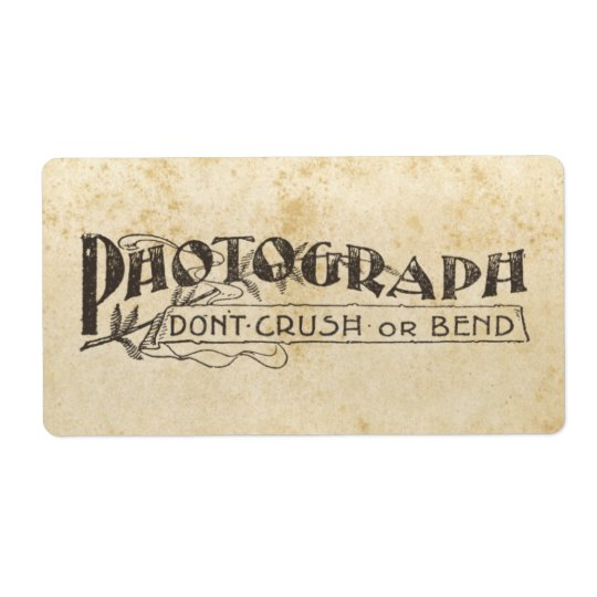 Photograph Don't Bend or Break Stickers Shipping Label
