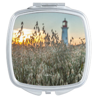 photograph of a headlight in fields makeup mirror