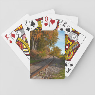 photograph of a railroad playing cards