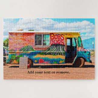 Photograph of an old colorful painted hot dog van. jigsaw puzzle