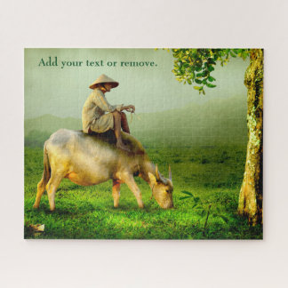 Photograph of Asian shepherd sitting on a buffalo, Jigsaw Puzzle