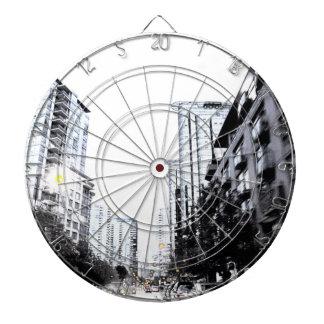 photograph of city the night dartboard