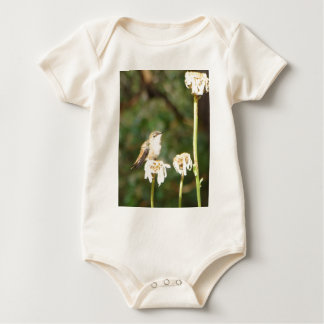 Photograph of Hummingbird Resting on Shasta Daisy Baby Bodysuit