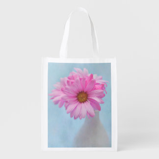 Photograph of Pink Flowers in Vase Reusable Grocery Bag