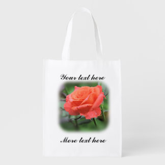 Photograph of Single Salmon Colored Rose Reusable Grocery Bag