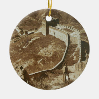 Photograph of The Great Wall of China from 1907 Round Ceramic Ornament