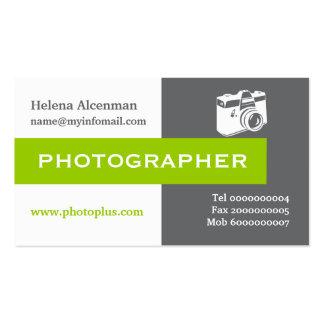 Photographe gris, blanc, vert attirant carte de visite standard