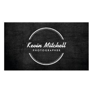 Photographe, logo de photographie sur le bois noir carte de visite standard