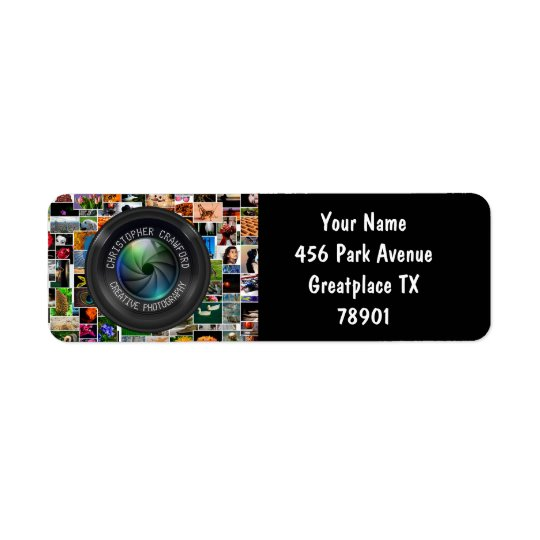 Photographer And Photography Business Camera Lens Return Address Label
