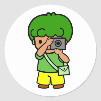 photographer boy classic round sticker