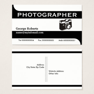 Photographer camera black, white modern business card